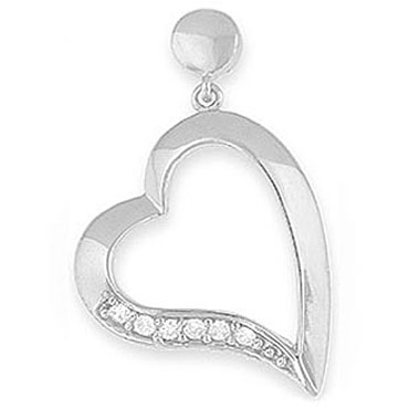 Cubic Zirconia on Silver Heart Pendant & Chain