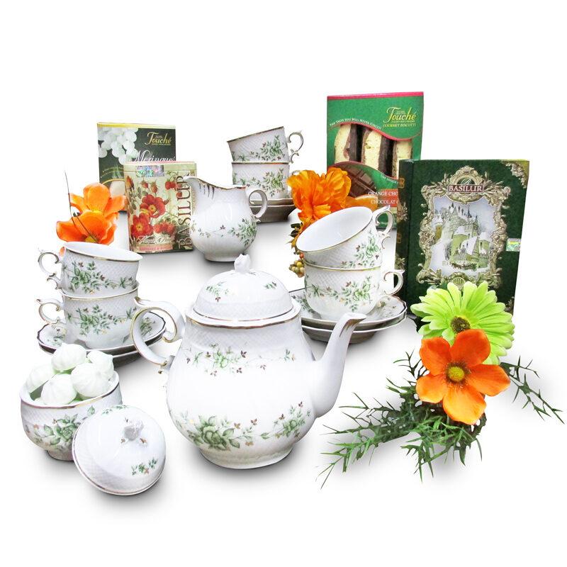 Porcelain Tea Set with Gourmet Cookies and Ceylon Teas