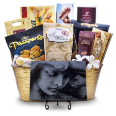 Condolence Gift Basket with Angel Face Granite Plaque