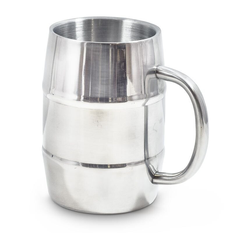 Silver Double Wall Stainless Steel Barrel Mug - Gifts for Men
