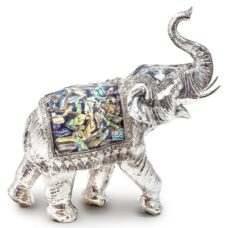 Large Silver Elephant with Mosaic Blanket - Ornament Figurine