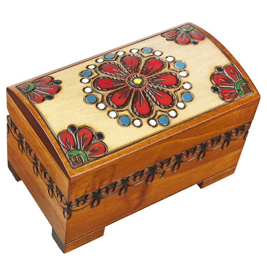 Country Flowers Decorative Box with Key