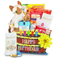 Birthday basket with a cute plush animal, chocolates and cookies.