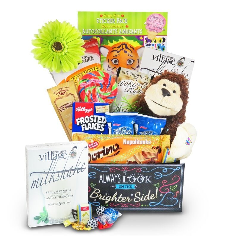 get well gift for children with plush, puzzle and sweets.