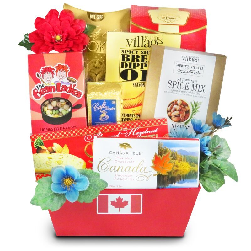 Greetings From Canada gift basket with gourmet foods of Canada