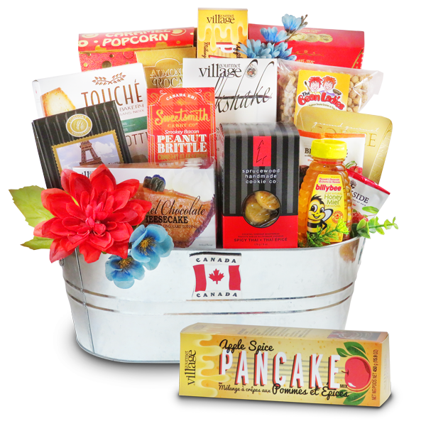 Sweets of Canada gift basket filled with Canadian gourmet sweets
