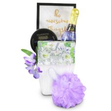 Lavender Spa Treats with bubble bath, sponge, soap and positive sing.