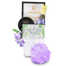 Lavender Spa Treats with bubble bath, sponge, soap and positive sing.