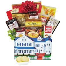 The White Picket Fence realtor gift basket filled with delectable goodies.
