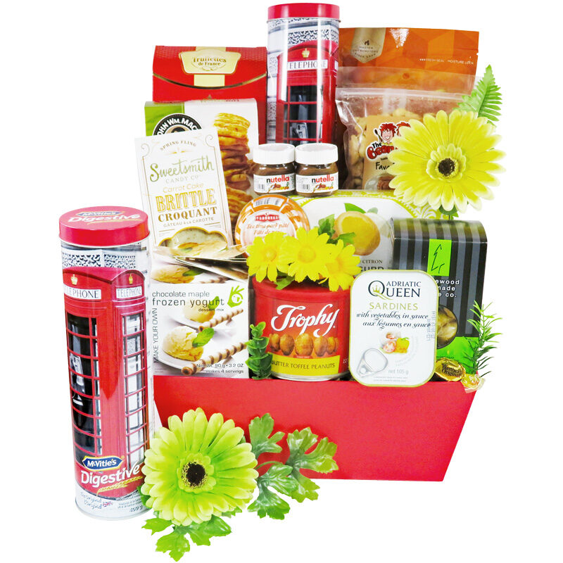 Hello Summer gift basket with enjoyable summer treats.